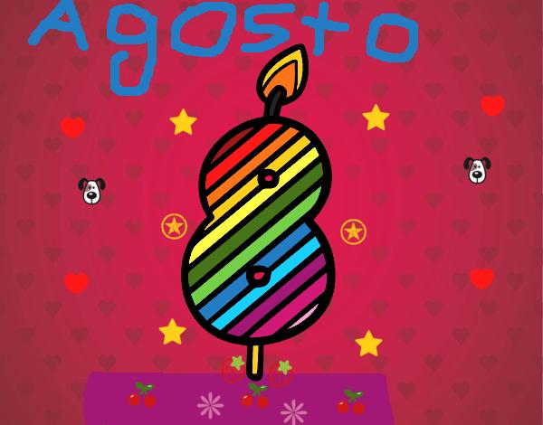 Dibujo de la vela de 8 a os de arcoiris pintado por en - Fiesta cumpleanos 8 anos ...