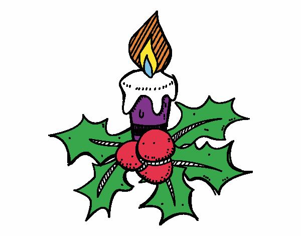 Dibujo de una vela de navidad pintado por en for Dibujos de navidad pintados