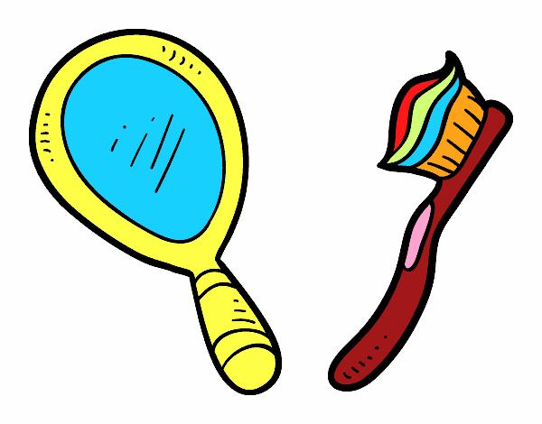 Dibujo de espejo y cepillo de dientes pintado por - Dibujos para espejos ...