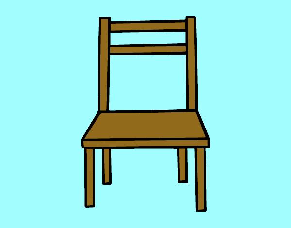 Dibujo de una silla de madera pintado por en for Silla facil de dibujar