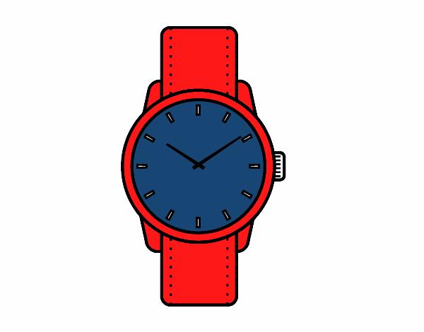 Dibujo de reloj de pulsera pintado por en el - Reloj pintado en la pared ...