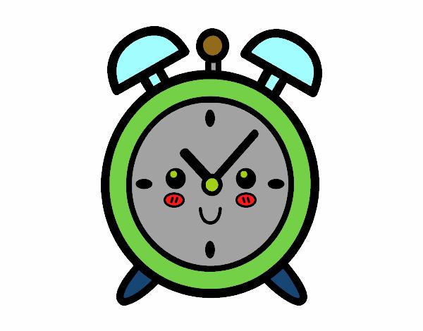 Dibujo de reloj despertador pintado por en el - Reloj pintado en la pared ...