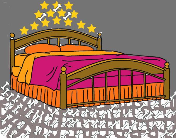Dibujo de cama de matrimonio pintado por en el for La cama de matrimonio