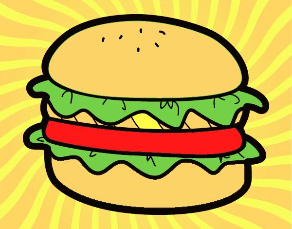 Dibujo de la super hamburguesa pintado por en Dibujosnet el da