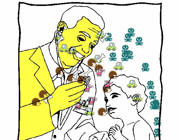 Dibujos De Medicos Para Colorear E Imprimir: Dibujo De Médico Con El Estetoscopio Pintado Por En