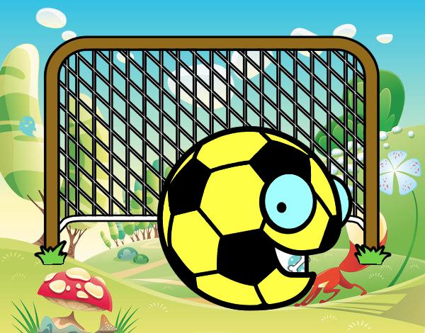 Dibujo De Jugador De Fútbol Con Balón Pintado Por En: Dibujo De Balón En La Portería Pintado Por En Dibujos