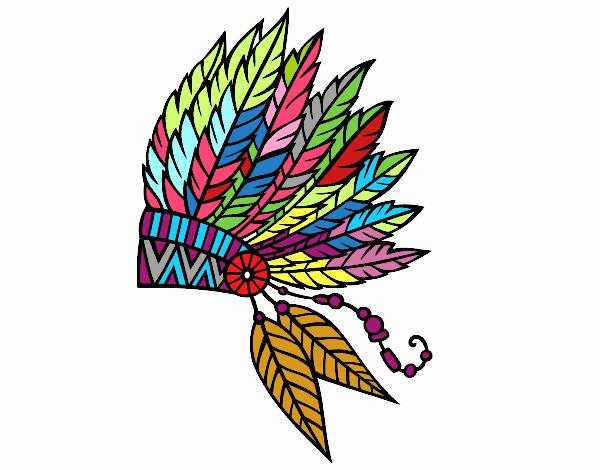 Dibujo De Corona De Plumas India Para Colorear Dibujos Para Colorear
