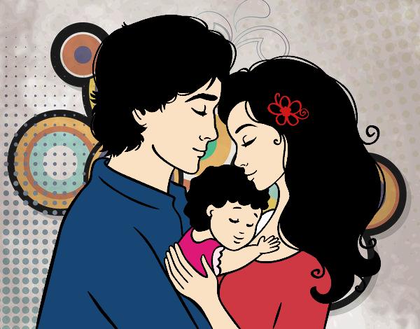 Dibujo de Una hermosa familia pintado - 270.6KB