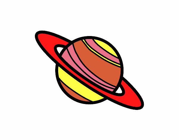 Dibujo de el planeta saturno pintado por en el - Dibujos infantiles del espacio ...