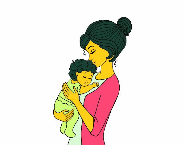 Dibujo De Madre Cogiendo Al Bebé Pintado Por En Dibujos