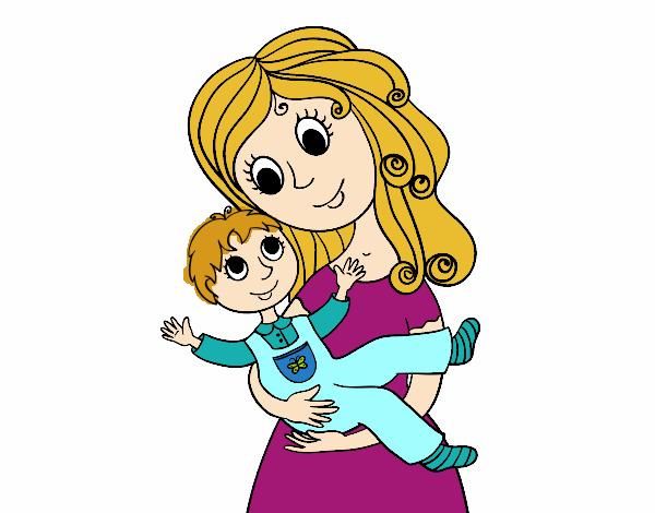 Dibujo de Madre abrazando a su hijo pintado por en Dibujosnet el