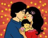 Dibujo Abrazo familiar pintado por LMBG