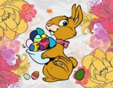 Dibujo Conejito con huevos de Pascua pintado por lolyyfeli