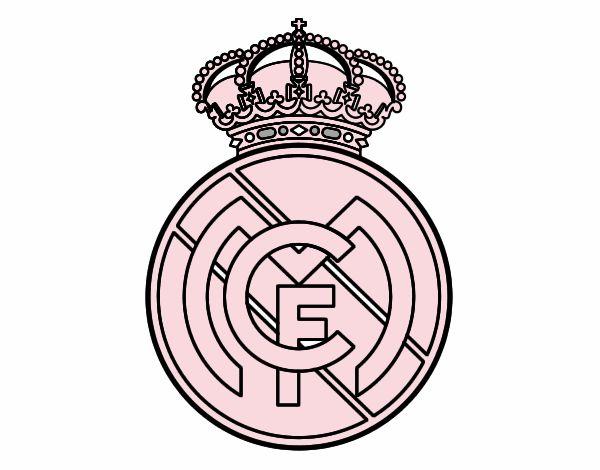 Dibujos Para Colorear Escudo Real Madrid: Dibujo De Escudo Del Real Madrid C.F. Pintado Por En