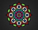 Dibujo Mandala ojos abiertos pintado por lolyyfeli