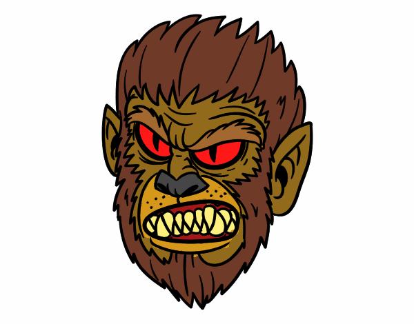Dibujo De Hombre Lobo Para Colorear: Dibujo De Cara De Hombre Lobo Pintado Por En Dibujos.net