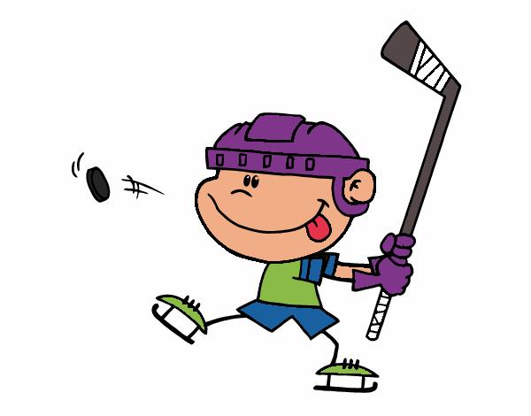 Dibujos Para Colorear Jugador De Hockey: Dibujo De Niño Aprendiendo A Jugar A Hockey Pintado Por