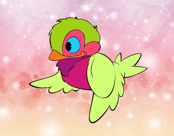 Dibujos De Animales Adorables Para Colorear: Dibujo De Pajaro Colorido Y Adorable Pintado Por En