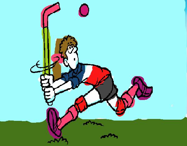 Dibujos Para Colorear Jugador De Hockey: Dibujo De Jugador De Hockey Sobre Hierba Pintado Por En