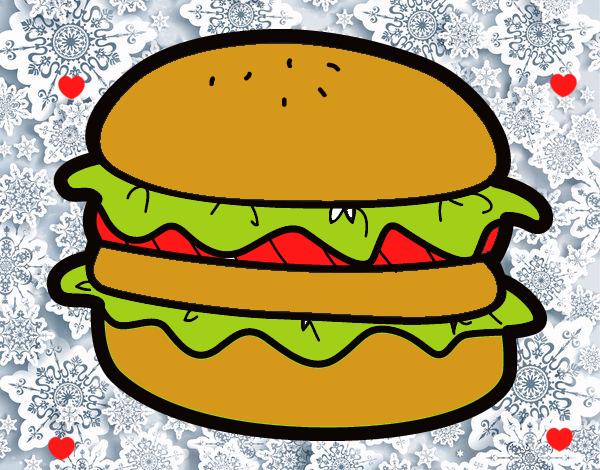 Dibujo de super hamburguesa deliciosa  pintado por en