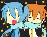 Miku y Len con bufanda
