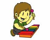 Niño con xilófono