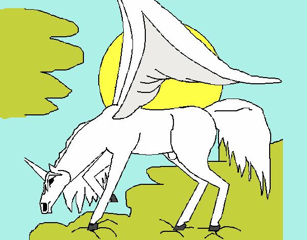 Dibujo de pegaso caballo volador pintado por en Dibujosnet el da