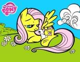 Dibujo Fluttershy con un conejito pintado por cookiefox