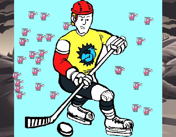 Dibujos Para Colorear Jugador De Hockey: Dibujo De Jugador De Hockey Sobre Hielo Pintado Por En