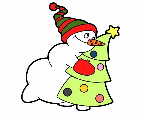 Muñeco De Nieve Dibujo: Dibujo De Muñeco De Nieve Abrazando árbol Pintado Por En