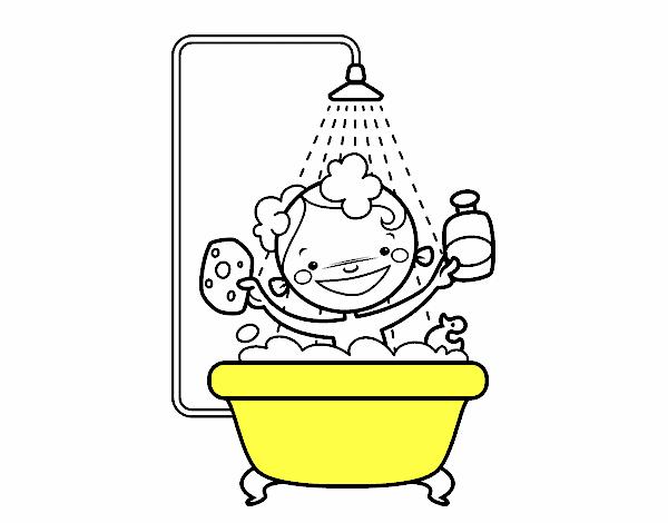 Baño O Ducha En El Embarazo:Dibujo de Niño en la ducha pintado por en Dibujosnet el día 12-06