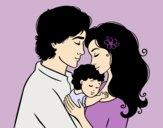 Dibujo Abrazo familiar pintado por ALETTE