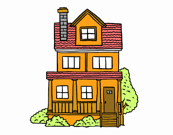 Dibujo de casa de dos pisos con buhardilla pintado por en - Casas con buhardilla ...
