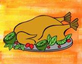 Dibujo Pollo con guarnición pintado por isimar