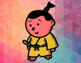 Dibujo Samurái niño pintado por mechitas17