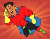 Dibujo Superhéroe volando pintado por yly