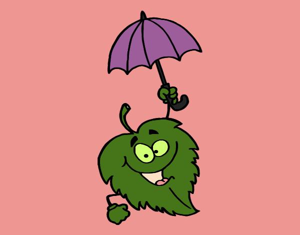 Dibujos De Paraguas Para Colorear E Imprimir: Dibujo De Hoja Con Paraguas Pintado Por En Dibujos.net El