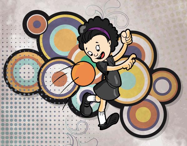 Dibujo De Jugador De Fútbol Con Balón Pintado Por En: Dibujo De Niña Con Balón Pintado Por Annie9000 En