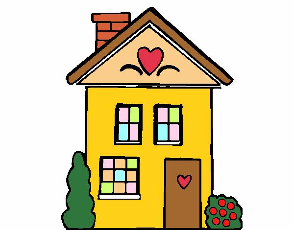 Dibujo de casa con corazones pintado por espinel en for Casa disegno