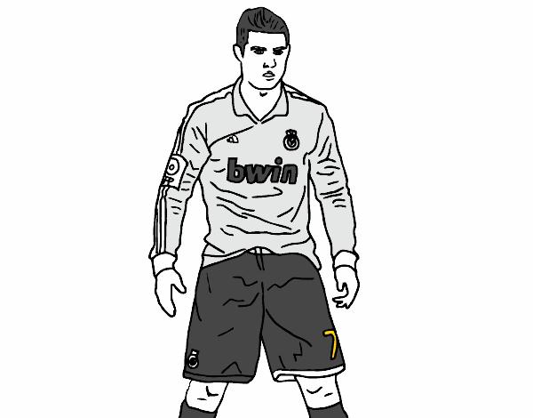 Dibujos Del Real Madrid Para Imprimir Y Colorear: Imagenes Para Colorear De Cristiano Ronaldo Dibujo De