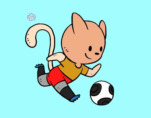 Dibujo de gato jugando a f tbol pintado por en - Dibujos de gatos pintados ...