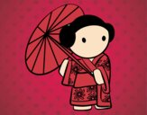Dibujo Geisha con sombrilla pintado por lailazoe16
