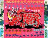 Rinoceronte y mariposa