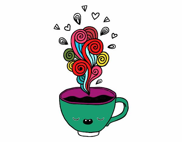 Taza De Cafe Dibujo Png: Dibujo De Taza De Café Kawaii Pintado Por En Dibujos.net