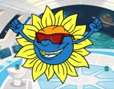 Un sol con gafas de sol