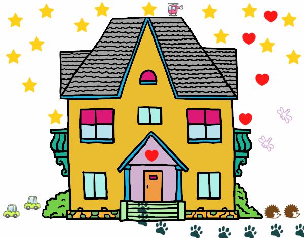 Dibujo de casa de campo con balcones pintado por gracee en el d a 26 07 16 a las 06 - Imagenes de casas para dibujar ...
