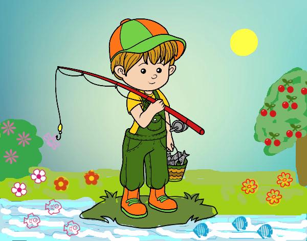 Dibujos Para Colorear Un Pescador: Dibujo De Niño Pescador Pintado Por Queyla En Dibujos.net