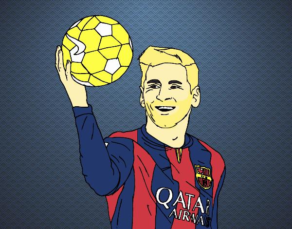Dibujo de Lionel Messi pintado por Joelinho en Dibujosnet el da