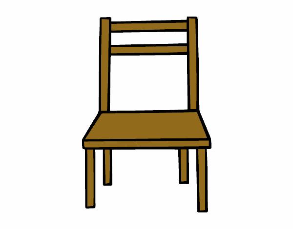 Dibujo de una silla de madera pintado por en for Sillas para dibujar facil