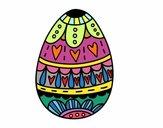 Dibujo Huevo de Pascua con corazones pintado por fakita